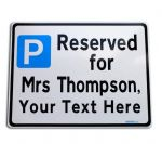Custom Parking Reserved Sign Metal faced | YourText Made to order online | Name and Job Title